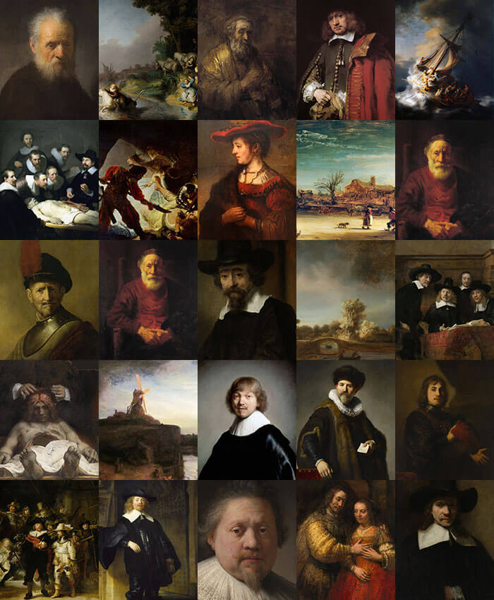 Grid of paintings of Rembrandt